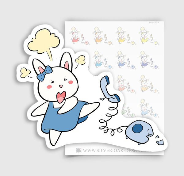 Bunny Rabbit Angry / Slamming Phone Planner Stickers | BNY-032-A
