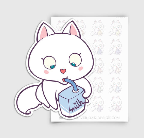 CAT-001-A | Bella Kitty Cat Drinking Milk Planner Stickers