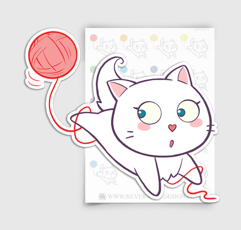 CAT-001-C | Bella Kitty Cat Kawaii Yarn / Knitting Planner Stickers