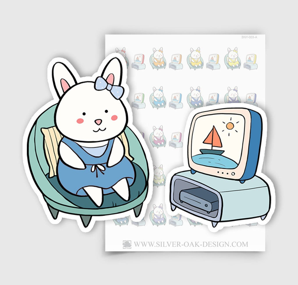 BNY-003-A | Bunny Rabbit Television / Watching TV Planner Stickers