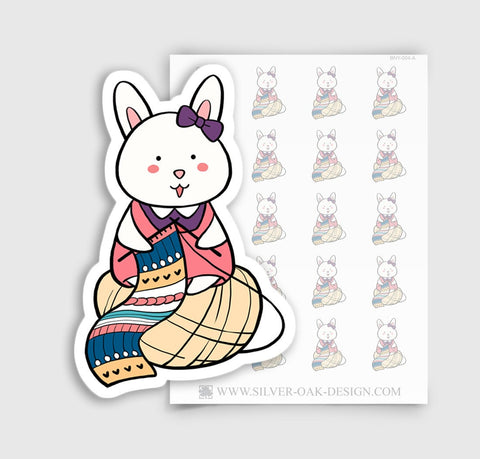 BNY-004-A | Bunny Rabbit Knitting Planner Stickers