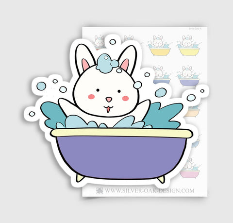 BNY-005-A | Bunny Rabbit Bath Tub Planner Stickers