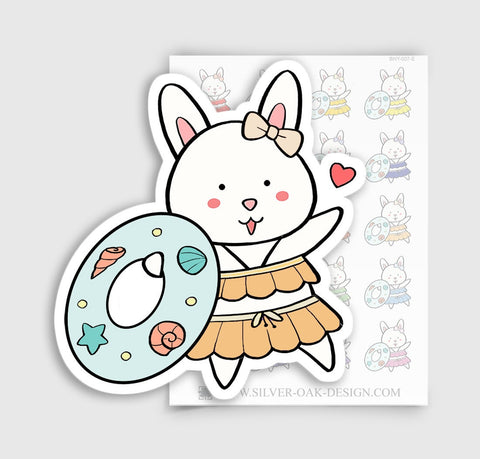 Bunny Rabbit Swimming Vacation Planner Stickers | BNY-007-E