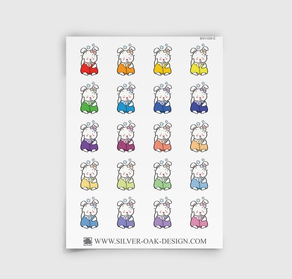 Bunny Rabbit Sick Day / Headache Planner Stickers | BNY-008-E