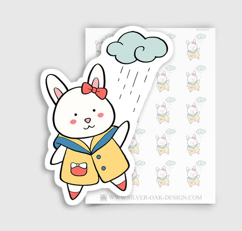 Bunny Rabbit Rainy Day Planner Stickers | BNY-009-E