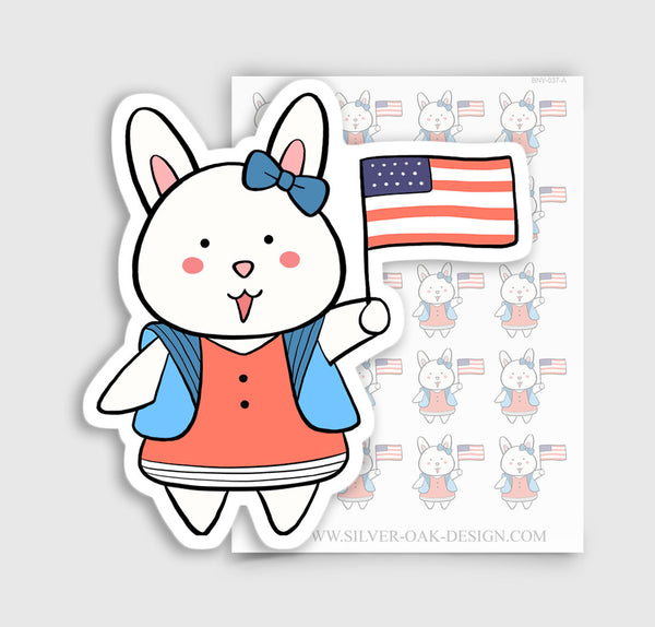 Bunny Rabbit American Flag Planner Stickers | BNY-037-A
