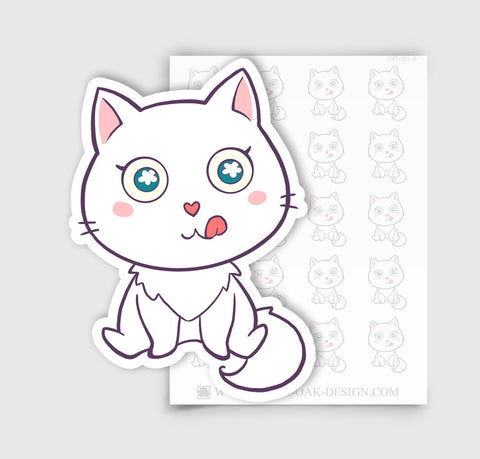 CAT-001-B | Bella Kitty Cat Kawaii Hungry / Meal Time Planner Stickers
