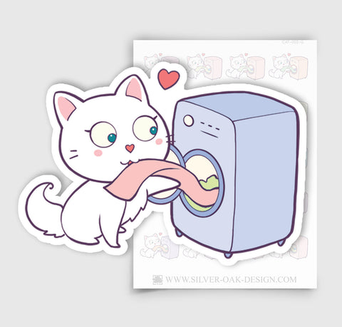 CAT-002-G | Bella Kitty Cat Laundry Day / Washing Machine Planner Stickers