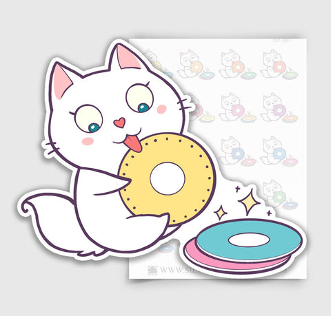 CAT-002-I | Bella Kitty Cat Kawaii Washing Dishes Planner Stickers