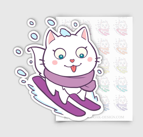 Bella Kitty Cat Skiing Winter Holiday Planner Stickers | CAT-007-A