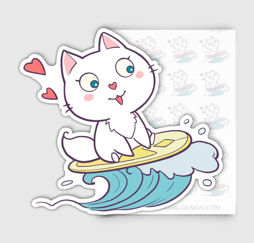 Bella Kitty Cat Surfing Beach Vacation Planner Stickers | CAT-008-A