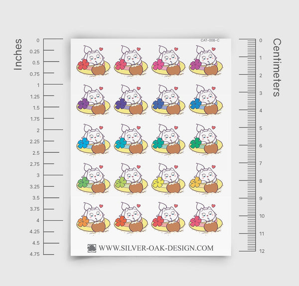 Bella Kitty Cat Tropical Vacation Planner Stickers | CAT-008-C