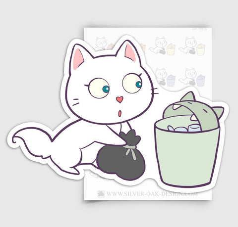 CAT-002-D | Bella Kitty Cat Garbage / Trash Day Planner Stickers