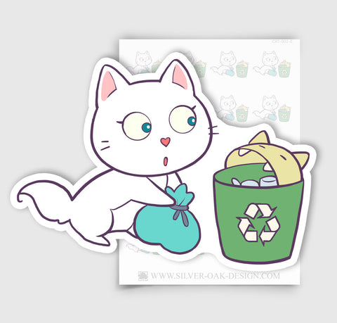 CAT-002-E | Bella Kitty Cat Recycling / Recycle Planner Stickers