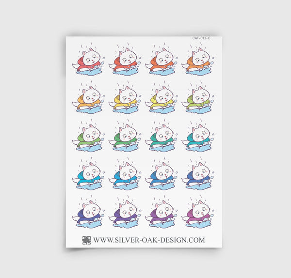 Bella Kitty Cat Rainy Day Weather Planner Stickers | CAT-013-C