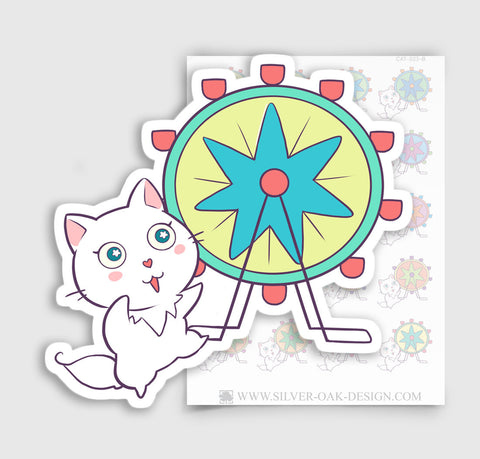 Cute White Cat Theme Park / Vacation Planner Stickers | CAT-023-B