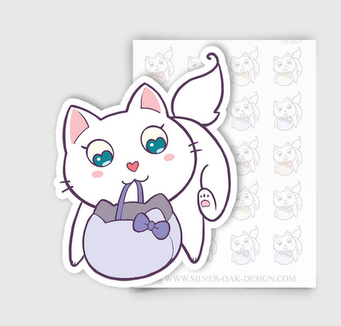 CAT-002-F | Bella Kitty Cat Shopping Grocery Bag Planner Stickers