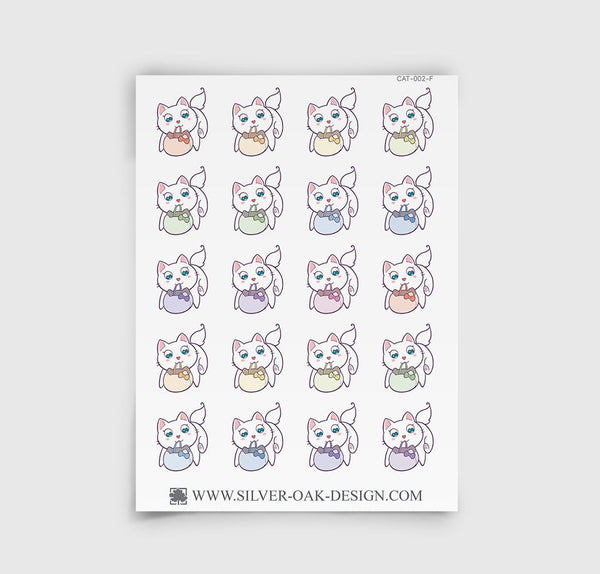 Bella Kitty Cat Shopping Grocery Bag Planner Stickers | CAT-002-F