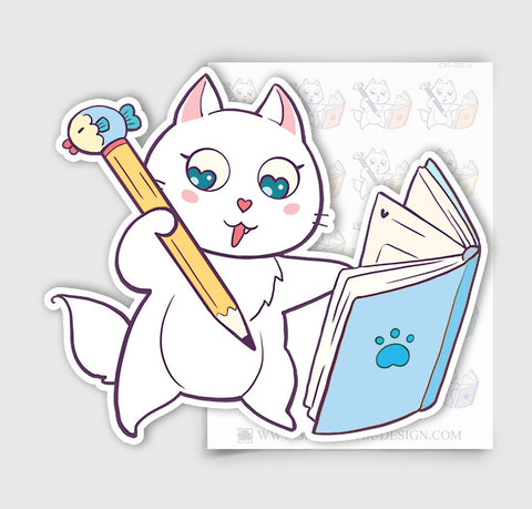 CAT-002-H | Bella Kitty Cat Kawaii Planning / Writing in Journal Cat Planner Stickers