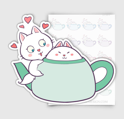 Bella Kitty Cat Tea Pot Planner Stickers | CAT-005-A