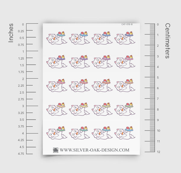 Cute Kawaii Bella Kitty Cat Sushi Planner Stickers | CAT-019-B