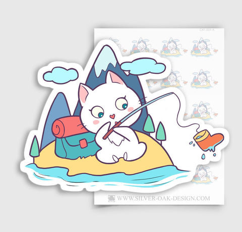Cute Bella Kitty Cat Camping / Fishing Planner Stickers | CAT-021-A