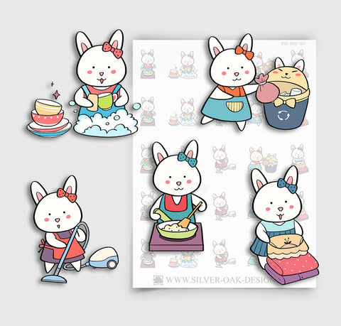 BNY-001 | Bunny Rabbit Housework Planner Stickers