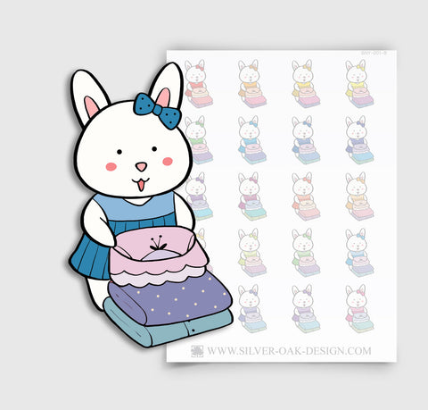 BNY-001-B | Bunny Rabbit Folding Laundry Planner Stickers