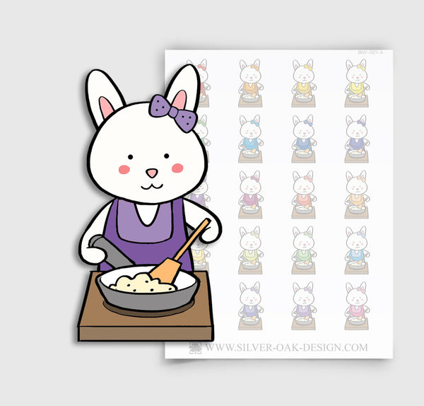 BNY-001-A | Bunny Rabbit Cooking Planner Stickers