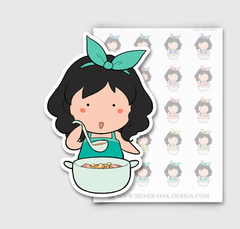 JSM-001-A | Jasmine Cooking Custom Character Planner Stickers