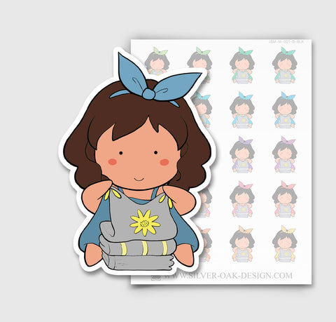 JSM-001-B | Jasmine Folding Laundry Custom Character Planner Stickers