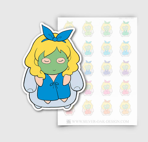JSM-003-D | Jasmine Spa Day / Face Mask Character Planner Stickers / 4.02