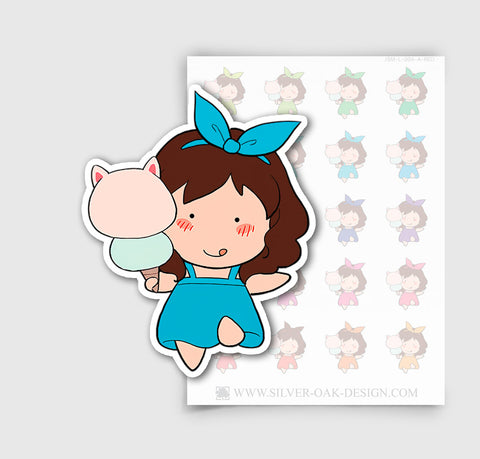 JSM-004-A | Jasmine Ice cream Custom Character Planner Stickers / 4.30
