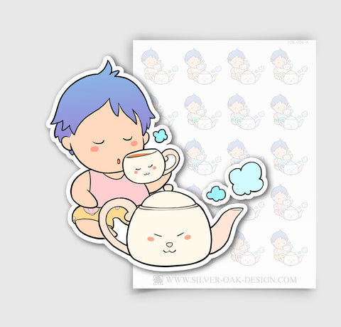 JCB-004-A | Jacob Drinking Tea / Boy Character Planner Stickers / 5.07