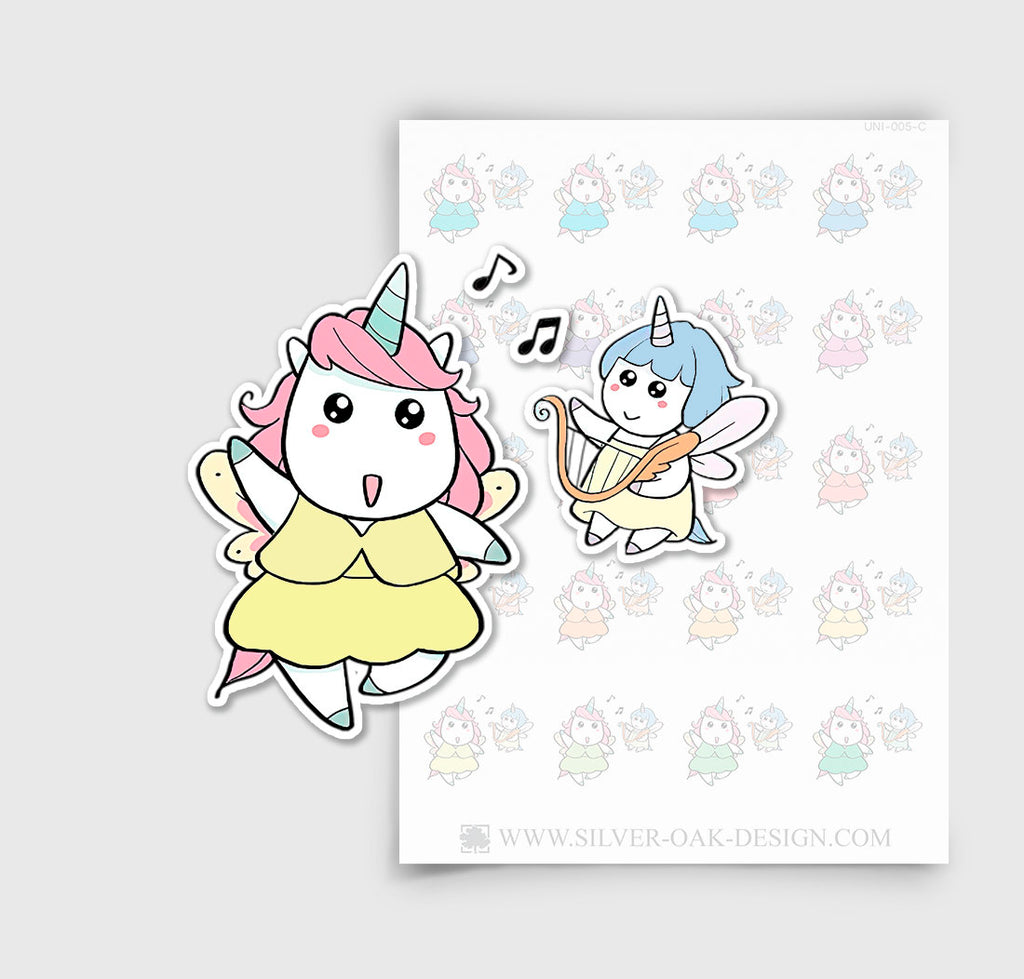 UNI-005-C | Luna Dancing and Singing Kawaii Unicorn Planner Stickers/4.09