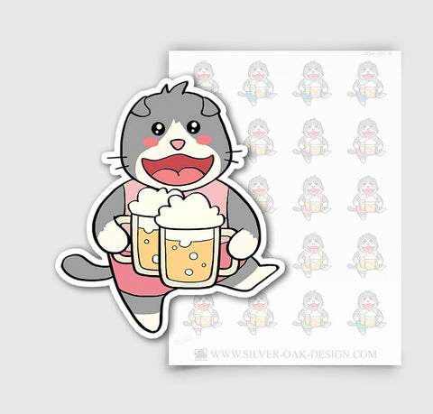 MSH-001-B | Drinking Beer / Pub Crawl / Moosh the Scottish Fold Cat Planner Stickers