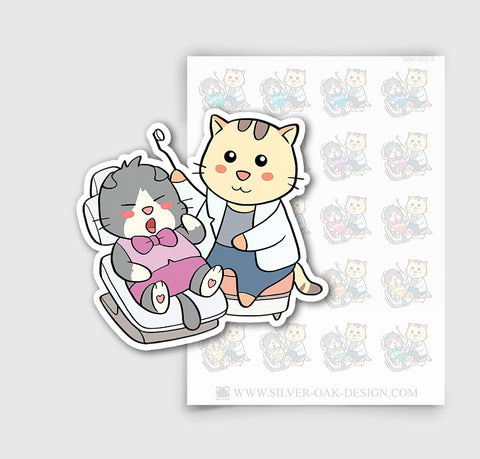 MSH-002-A | Dentist Appointment / Moosh the Scottish Fold Cat Planner Stickers