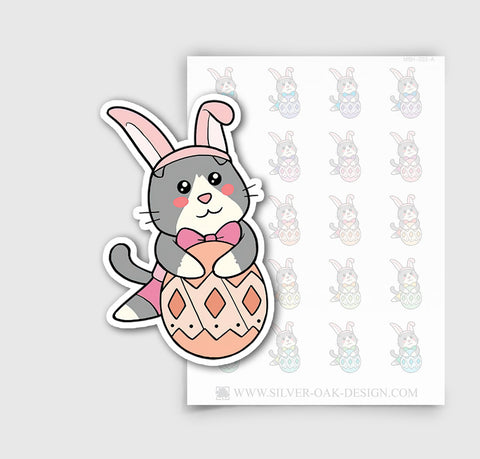 MSH-003-A | Easter Egg / Bunny Ear / Moosh the Scottish Fold Cat Planner Stickers