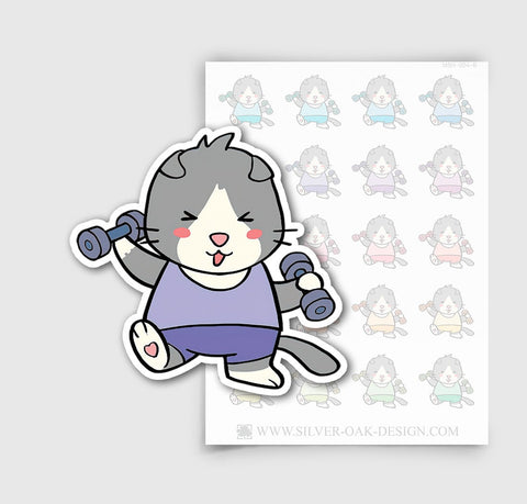 MSH-004-B | Exercising / Lifting Weights / Moosh the Scottish Fold Cat Planner Stickers