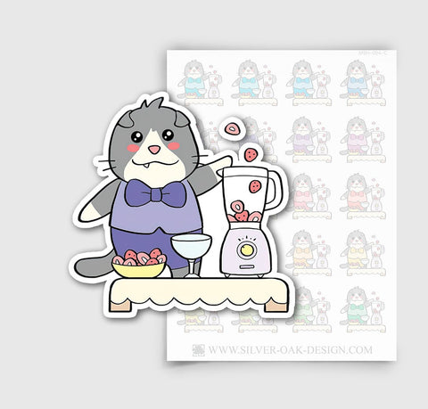 MSH-004-C | Making a Smoothie / Moosh the Scottish Fold Cat Planner Stickers