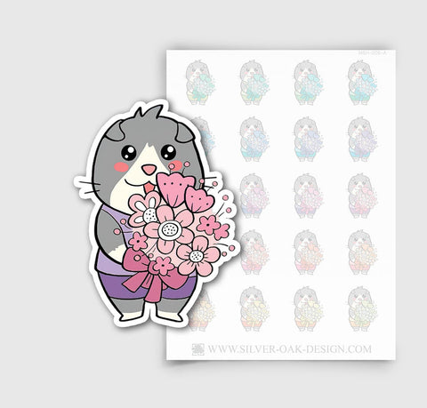 MSH-006-A | Holding a Flower Bouquet / Moosh the Scottish Fold Cat Planner Stickers / 3.12