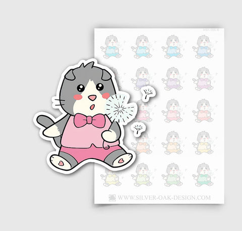 MSH-006-B | Making a Wish / Blowing Dandelion / Moosh the Scottish Fold Cat Planner Stickers/ 3.26