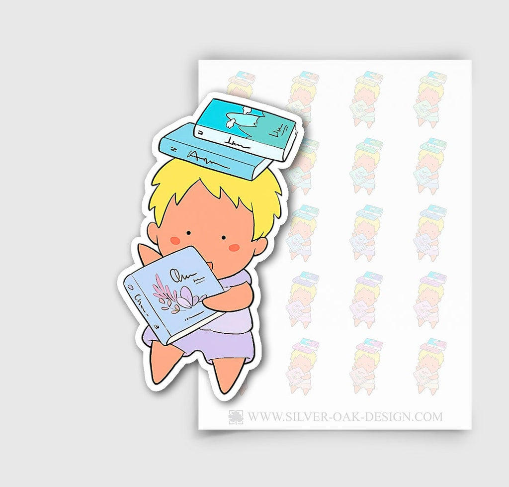 NOA-002-E | Noah Reading / Studying Custom Boy Character Planner Stickers