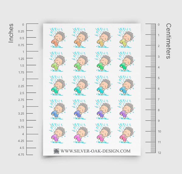 NOA-003-A | Noah Rainy Day / Weather Tracker Custom Boy Character Planner Stickers / 3.05