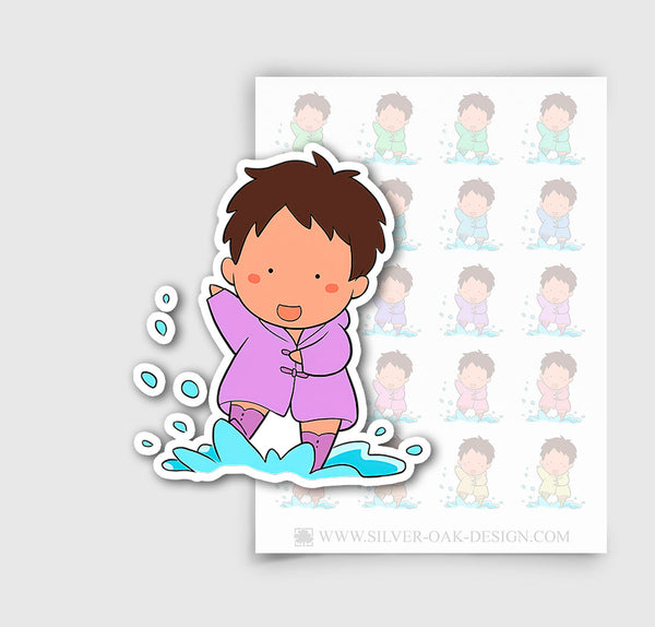 NOA-003-E | Noah Rainy Day / Weather Tracker Custom Boy Character Planner Stickers / 4.30