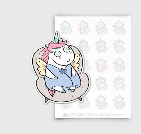 UNI-005-E | Luna Relaxing Spa Day / Face Mask Kawaii Unicorn Planner Stickers/ 5.07