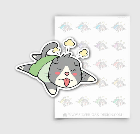 MSH-001-A | Exhausted / Tired / Moosh the Scottish Fold Cat Planner Stickers