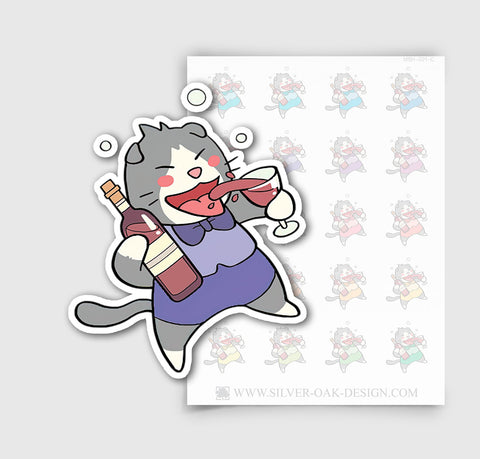 MSH-001-C | Drinking Wine / Moosh the Scottish Fold Cat  Planner Stickers