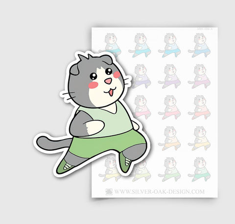MSH-004-A | Running / Jogging / Moosh the Scottish Fold Cat Planner Stickers