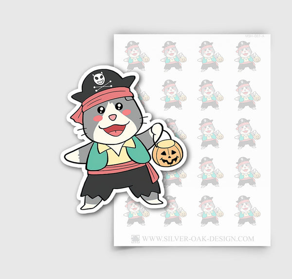MSH-007-A | Halloween Costume / Trick or Treat / Moosh the Scottish Fold Cat Planner Stickers / 4.09